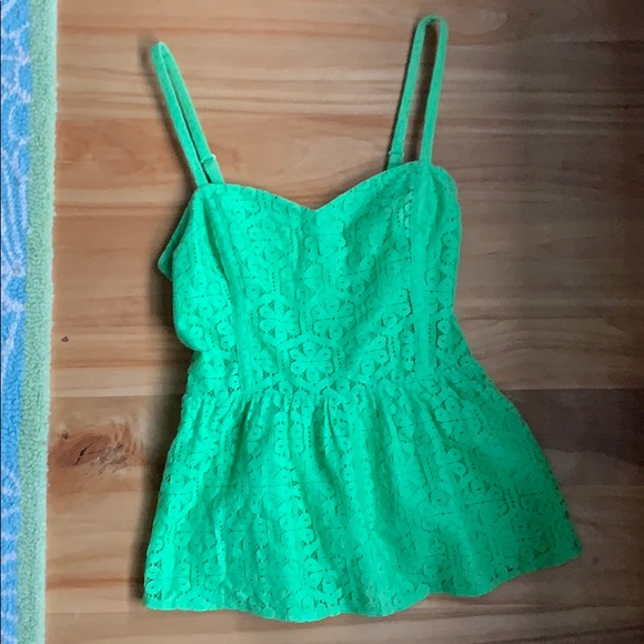 Lilly Pulitzer Tops - Lily Pulitzer embroidered green babydoll tank